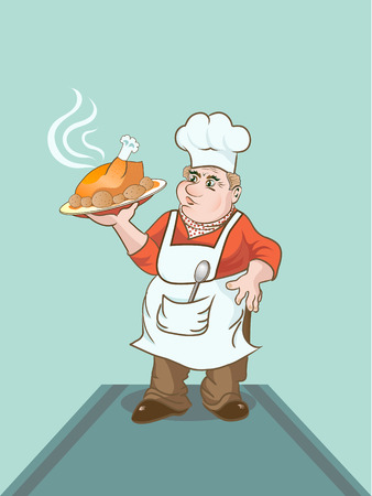 Cartoon cook keeping a plate with baked chicken Illustration