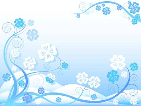 Abstract with floral ornaments on blue and white background