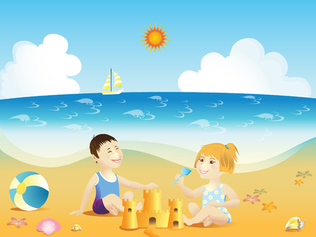 illustration of boy and girl playing on a sea beach.