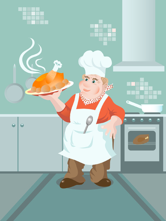 oven potatoes: Cartoon cook keeping a plate with baked chicken Illustration