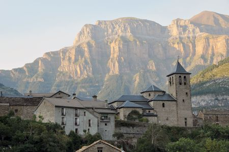 View of Vall de Boi in Spain with pyrenes in background Stock Photo