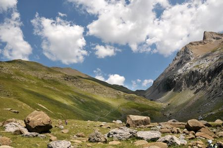 Landscape of Pyrenees mountains.