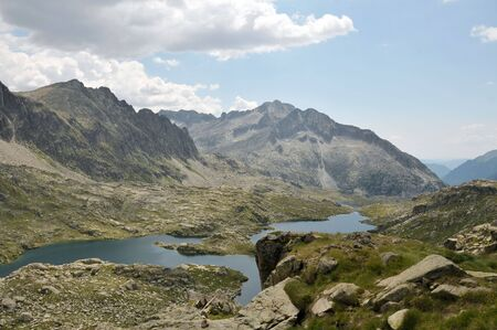 View of a mountain lake in Spanish Pyrenees  Stock Photo