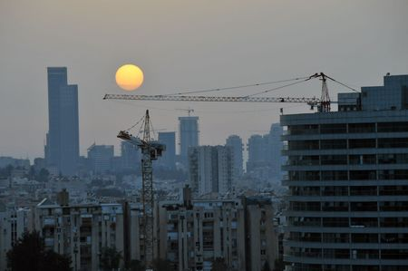View of  new construction in a sunset time