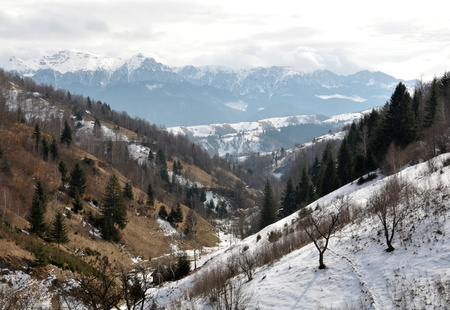 Landscape view on mountain ridge in Carpathians, Romania