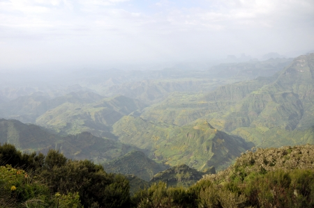 View of landscape on Simien mointains park, Ethiopia