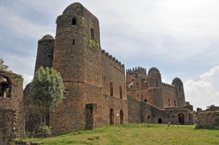 View of Fasil Ghebbi castle located in Gondar, Ethiopia