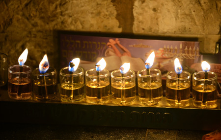Close up view of Chanukkah candles in Jerusalem Old City