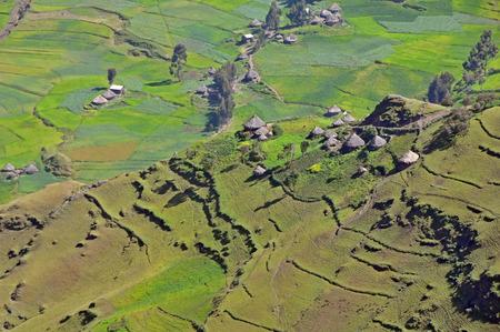 Uitzicht op landschap hieronder Simien bergen park, Ethiopië.