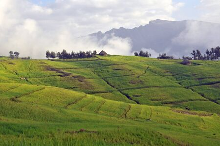 View of landscape on Simien mointains park, Ethiopia. Stock Photo