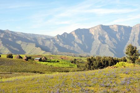 View of landscape below Simien mointains park, Ethiopia.