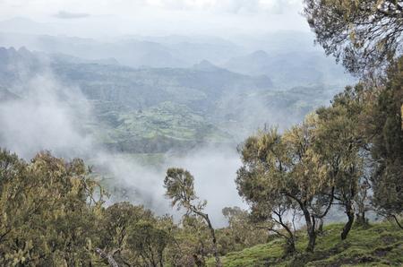 View of landscape on Simien mountains park, Ethiopia.