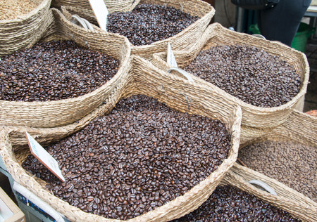 Closeup view of baskets with coffee beans. Stock Photo