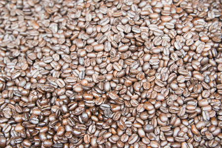 Closeup view of coffee beans background. Stock Photo