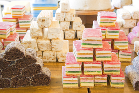 Closeup view of arabic sweets in a market. Stock Photo