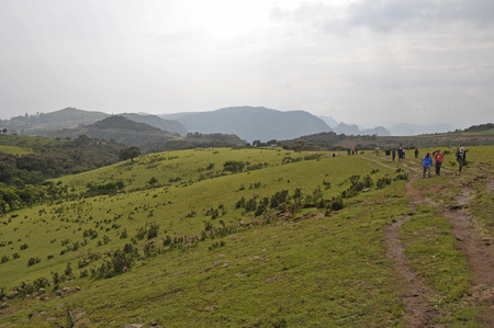 Simion National Park; Ethiopia - September 29; 2012: Group of tourists making a trek in Simien National Park.