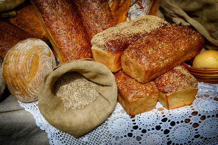 Close-up of few loafs of fresh bread. Stock Photo