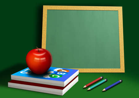A computer illustration of school equipment, with apple books pencils and chalkboard. illustration