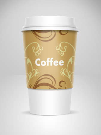 A computer illustration of a takeaway coffee cup illustration