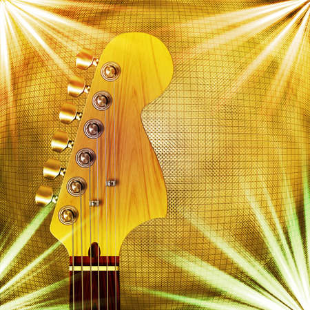 Computer illustration of guitar headstock, with golden background and lighting effects.