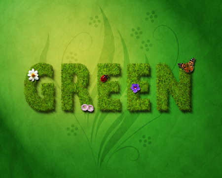 A computer illustration of grass text with nature elements and background. Stock Photo