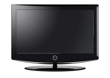 A computer illustration of a black widescreen TV. Stock Photo
