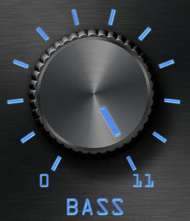 Black brushed metal bass control, with blue glow effects. This one goes all the way to eleven. photo