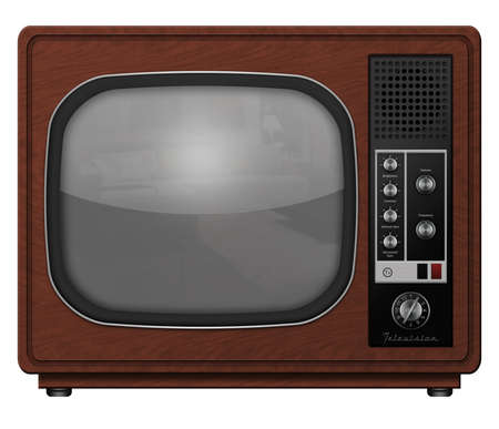 crt: Computer illustration of a vintage tv. Stock Photo