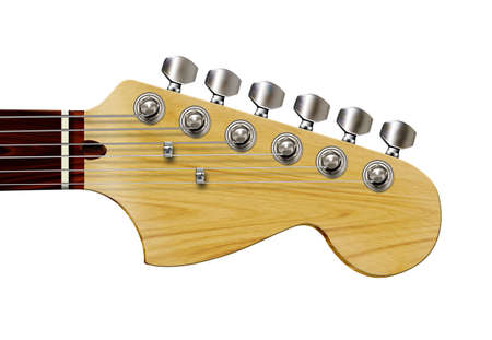 Detailed, isolated computer illustration of guitar headstock.
