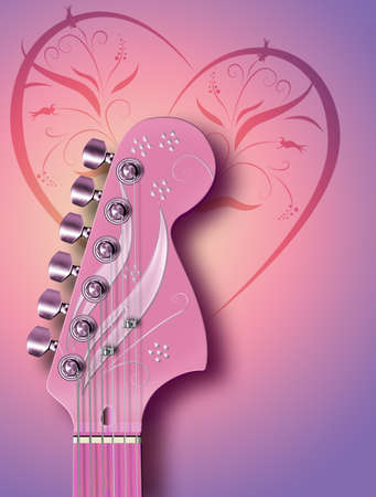 Computer illustration of pink guitar headstock, with background design. Stock Illustration - 10901890