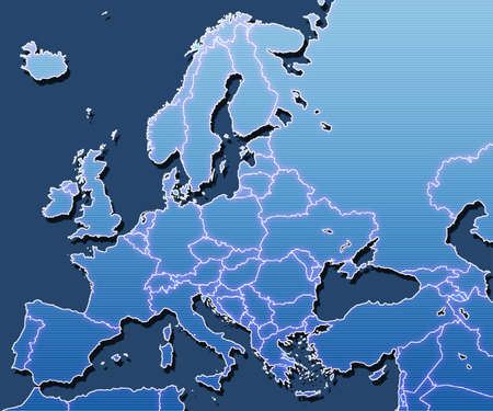 A map of Europe with  Stock Photo
