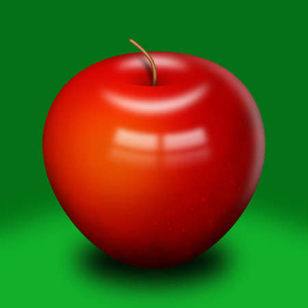 A computer llustration of a shinny red apple, on a green background.