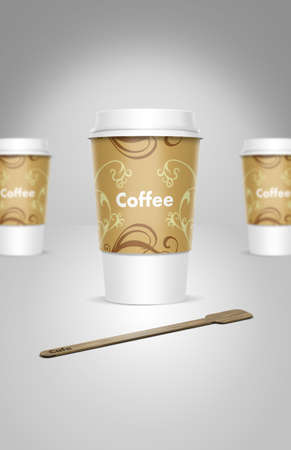 A computer illustration of takeaway coffee cups