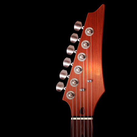 headstock: Illustration of brown wood electric guitar headstock with strings and tuning knobs on black.