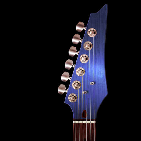 knobs: Illustration of electric guitar headstock with strings and tuning knobs on black. Stock Photo