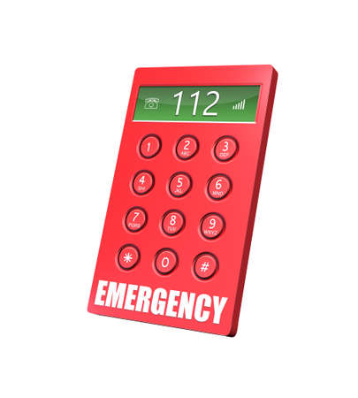 3d render of an emergency keypad with abstract background.