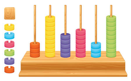 Detailed illustration of a mathematical place value abacus Vector