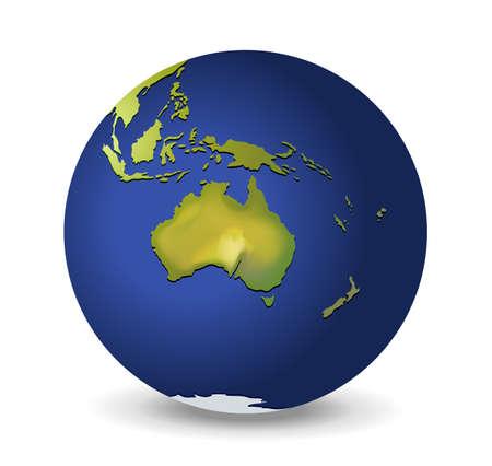 papua: Illustration of the globe, Australia Illustration
