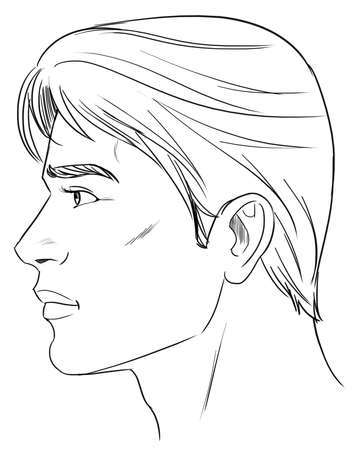 medical drawing: Outline side profile of a human male head