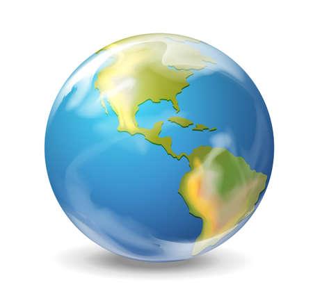 Illustration réaliste de la Terre sur blanc Vecteurs