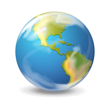 blue earth: Realistic illustration of the Earth on white