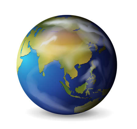 earth from space: Realistic illustration of the Earth on white