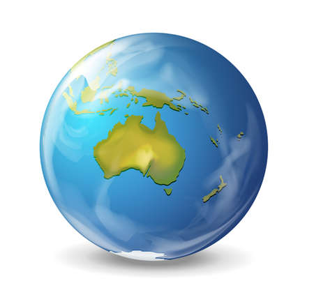 australia: Realistic illustration of the Earth on white