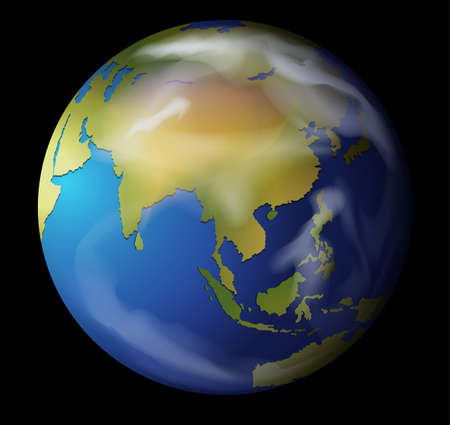 Realistic illustration of the Earth on black Vector