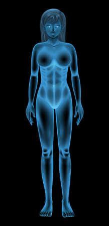 black breast: illustration of a generic female body