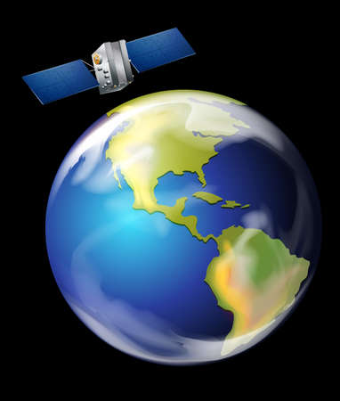 Illustration of an artificial satellite orbiting Earth Vector