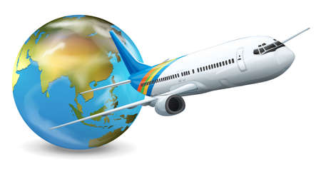 Illustration of travel concept - Earth and airplane Stock Vector - 16988078