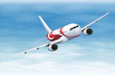 Illustratie van een commerciële vliegtuigen tijdens de vlucht Stock Illustratie