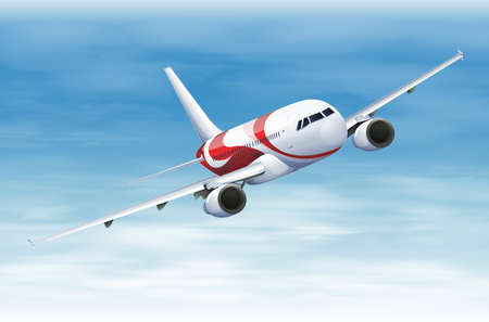 airplane landing: Illustration of a commerical aircraft in flight