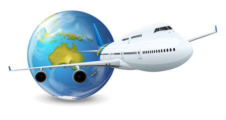 business class travel: Illustration of travel concept - Earth and airplane Illustration